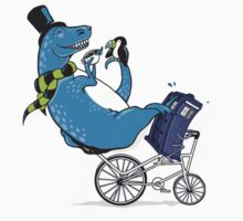 Tandem T-Rex with Toucan and Tea while Tardis Toils Kids Clothes
