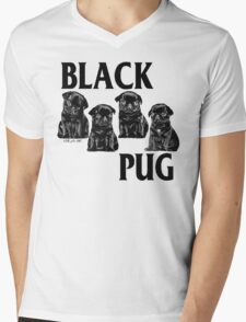 black pug Mens V-Neck T-Shirt
