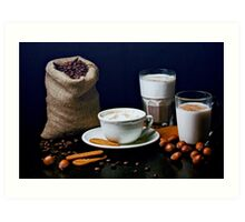Latte, Capuccino, and Biscuits Art Print
