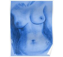 Nude Female Torso - PPSFN-0002-in Blue Poster
