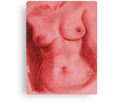 Nude Female Torso - PPSFN-0002-in Red Canvas Print