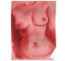 Nude Female Torso - PPSFN-0002-in Red Poster