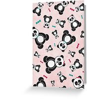 Panda Freefall in Pink Greeting Card