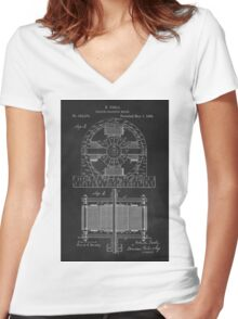 Tesla Coil Patent Art Women's Fitted V-Neck T-Shirt