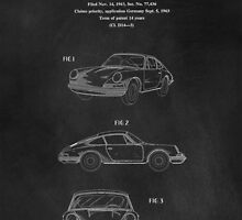 PORSCHE 911 CARRERA 1964 PATENT ART PRINT  by Edward Fielding