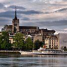 Geneva Cathederal and lake boat by David Freeman