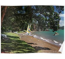 All quiet now on Russell Beach, Bay of Islands, New Zealand. Poster
