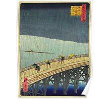 Japanese Print - Rain on Bridge Poster