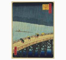 Japanese Print - Rain on Bridge Kids Tee