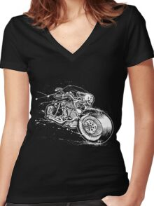 Skeleton Rider Women's Fitted V-Neck T-Shirt