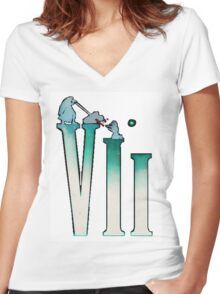 Final Fantasy VII: The Sacrifice Of Cloud - Numbers And Characters Women's Fitted V-Neck T-Shirt