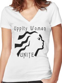 "Women's ""Uppity Women Unite"" Women's Fitted V-Neck T-Shirt"