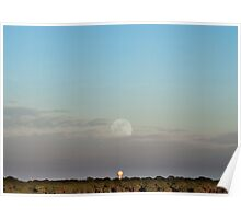Water Tower and Rising Moon Poster