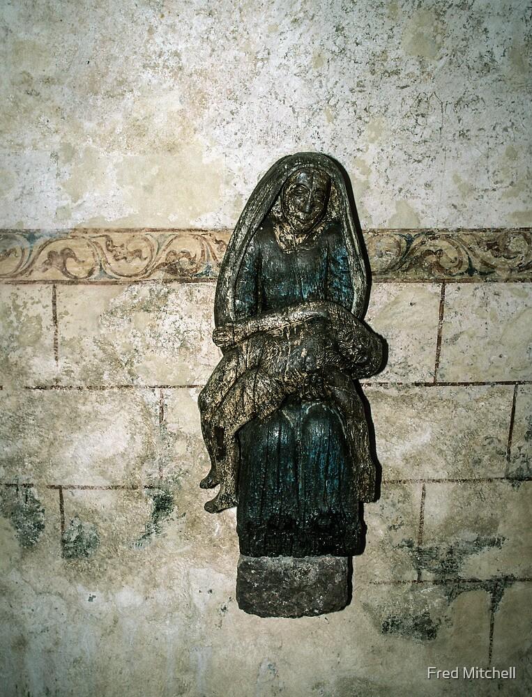 Pieta on wall of  ruined Hambaye Abbey Church 1124 19840219 0044  by Fred Mitchell