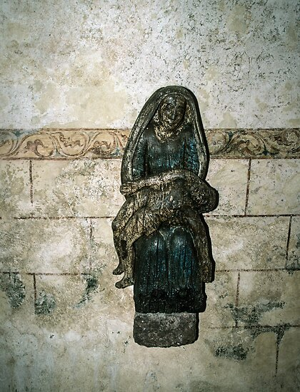 Pieta on wall of  ruined Hambaye Abbey Church 1124 198402190044  by Fred Mitchell