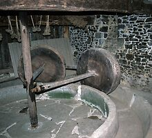 Millstone in Hambaye Abbey 198402190046  by Fred Mitchell