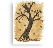 The Autumn Forest Will Die Happy To Re-birth Created with Tea Canvas Print