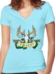 The Druid (outlined) Women's Fitted V-Neck T-Shirt