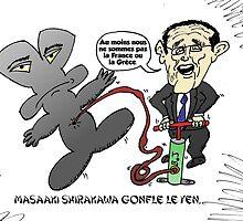 Masaaki Shirakawa caricature gonfler le Yen by Binary-Options