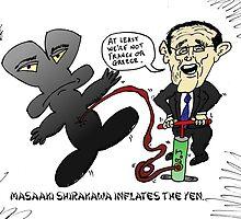 Masaaki Shirakawa caricature inflating the Yen by Binary-Options
