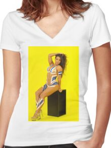 Fit Woman - Body Tape Women's Fitted V-Neck T-Shirt