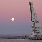 Moonrise Over an Outer Harbour Crane by Stuart Daddow Photography