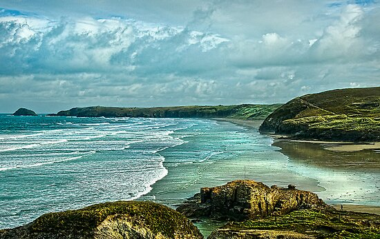 Perranporth Beach Cornwall by Tarrby
