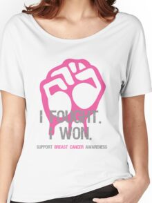 Fought & Beat Breast Cancer Awareness Women's Relaxed Fit T-Shirt