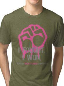 Fought & Beat Breast Cancer Awareness Tri-blend T-Shirt