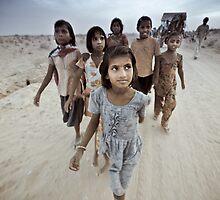 Children of the Thar Dessert, Rajasthan India by Heather Buckley