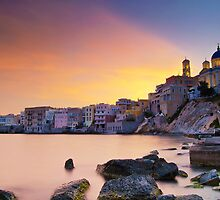 fabulous sunset in ermoupoli by george papapostolou
