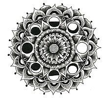 Moon Flower Mandala Photographic Print