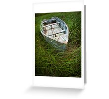 Old Weathered Row Boat abandoned in the Grass on PEI No.032 Greeting Card