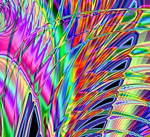 Neon Feather Fractal by Sharon Woerner