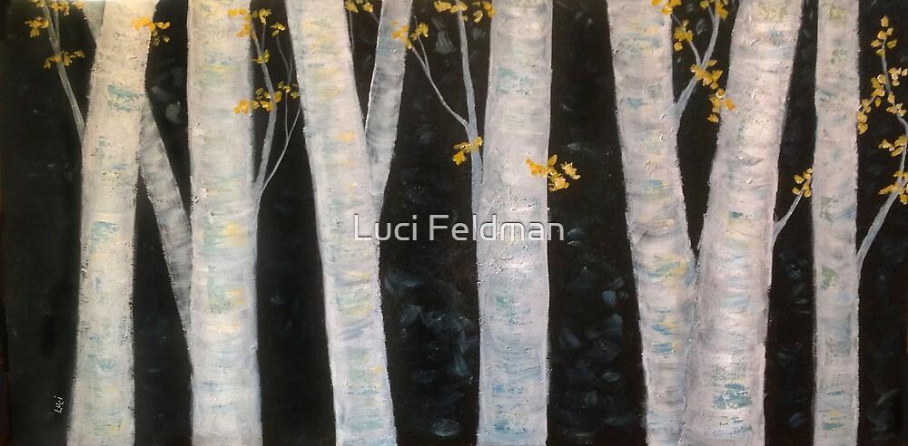 Blue Birch - Acrylic  60x30 by Luci Feldman
