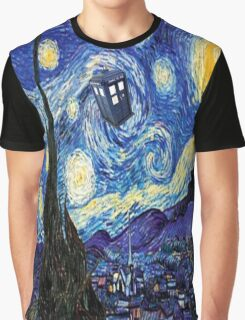 Starry Night Inspiration Doctor Who Tardis Products Graphic T-Shirt