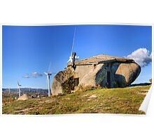 Stone house in eolic park, Fafe Poster