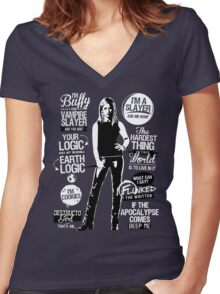 Quotes of a Slayer  Women's Fitted V-Neck T-Shirt