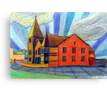 375 - BETHLEHEM CHAPEL, RHOSLLANERCHRUGOG - DAVE EDWARDS - COLOURED PENCILS - 2013 Canvas Print