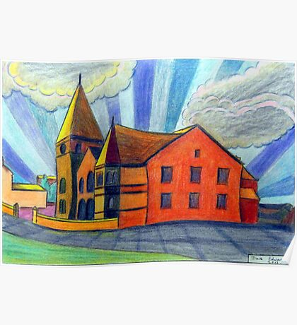 375 - BETHLEHEM CHAPEL, RHOSLLANERCHRUGOG - DAVE EDWARDS - COLOURED PENCILS - 2013 Poster