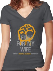 I Fight Multiple Sclerosis MS Awareness - Wife Women's Fitted V-Neck T-Shirt