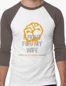 I Fight Multiple Sclerosis MS Awareness - Wife Men's Baseball ¾ T-Shirt