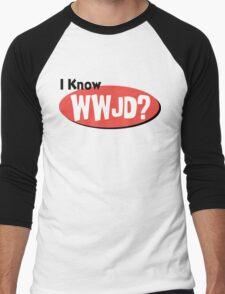 "Christian ""I Know WWJD?"" Men's Baseball ¾ T-Shirt"