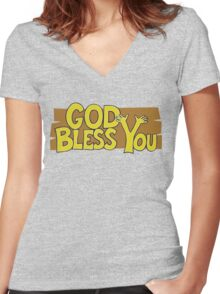 "Christian ""God Bless You"" T-Shirt Women's Fitted V-Neck T-Shirt"