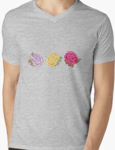 Decorative Roses Mens V-Neck T-Shirt
