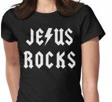 "Christian ""Jesus Rocks"" Dark T-Shirt Womens Fitted T-Shirt"