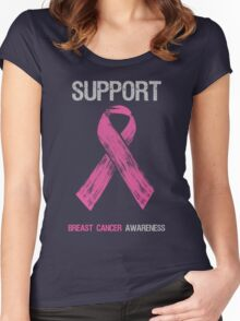 Breast Cancer Awareness Support Ribbon Women's Fitted Scoop T-Shirt