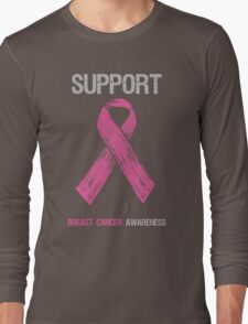 Breast Cancer Awareness Support Ribbon Long Sleeve T-Shirt