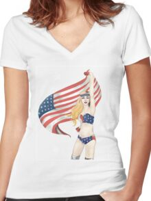 United States of Gaga Women's Fitted V-Neck T-Shirt