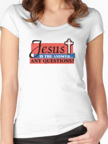 """Christian """"Jesus Is The Answer - Any Questions?"""" Women's Fitted Scoop T-Shirt"""